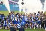 Jogadores celebram a conquista do 29.º título após a vitória (2-0) sobre o Sporting