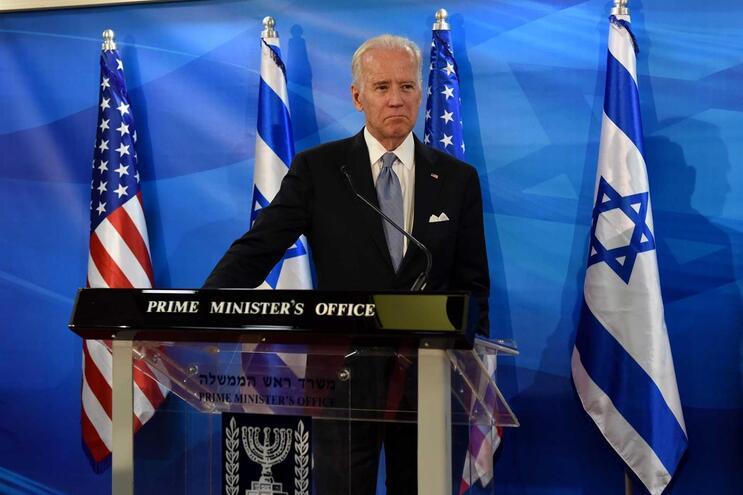 Joe Biden em Jerusalém, em 2016, quando era vice-presidente dos EUA