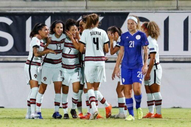 Seleção portuguesa celebra um dos golos ao Chipre