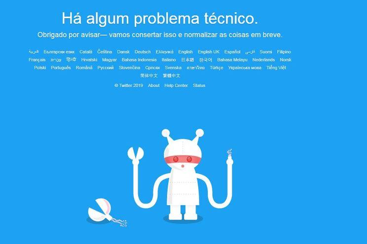 """Twitter está em baixo  com """"problema técnico"""""""