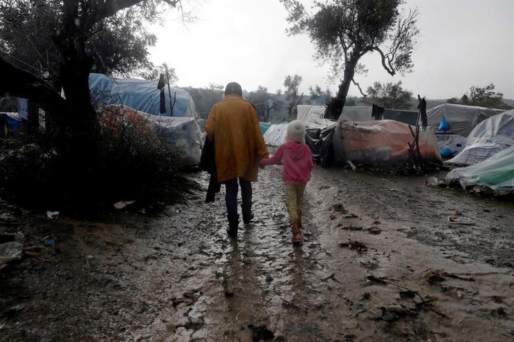 Refugiados no campo de Moria, na ilha de Lesbos, Grécia