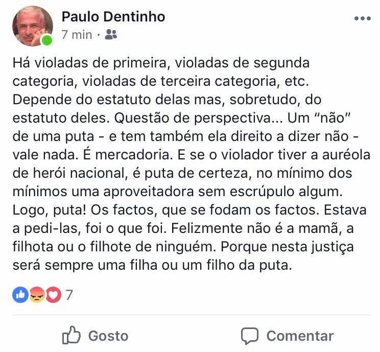 """O """"post"""" divulgado na página pessoal de Paulo Dentinho que foi mais tarde retirado"""