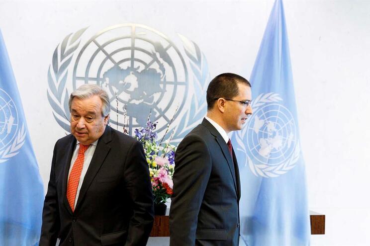 António Guterres e Jorge Arreaza, ministro dos Negócios Estrangeiros da Venezuela