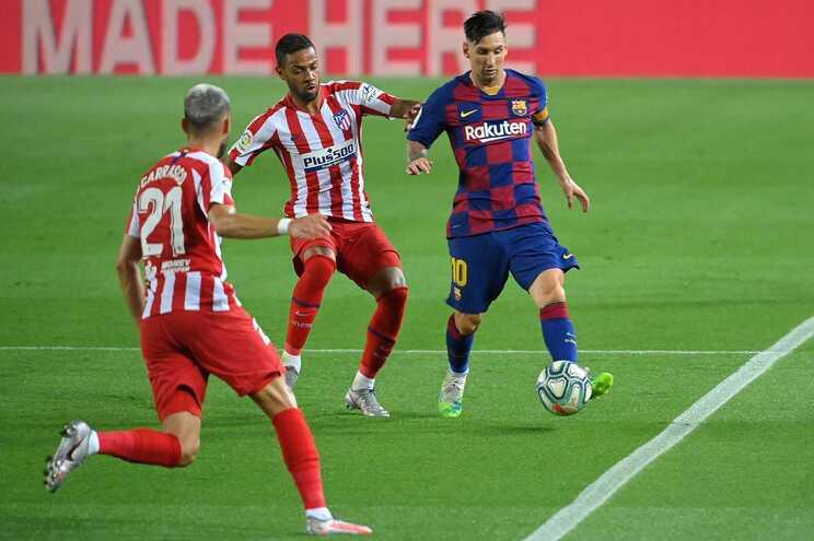 Messi marcou o segundo golo do Barcelona no empate com o At. Madrid
