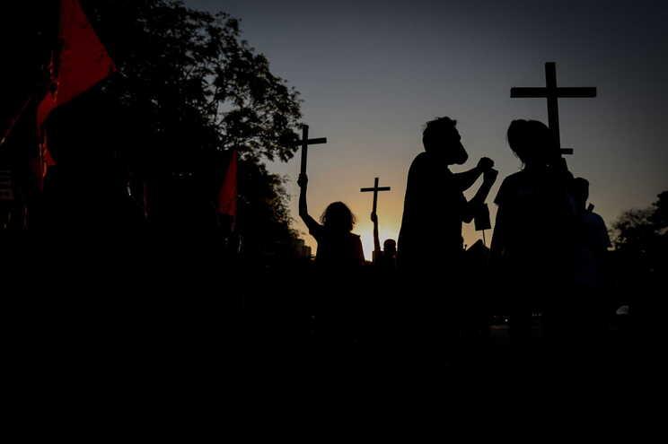 Marcha de luto em São Paulo pelas vítimas de covid-19