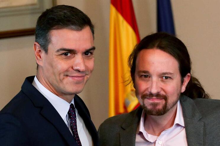 Pedro Sánchez, do PSOE, e Pablo Iglesias, do Unidas Podemos