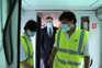 O ministro das Infraestruturas, Pedro Nuno Santos, acompanhado pelo presidente da CP, Nuno Freitas, durante