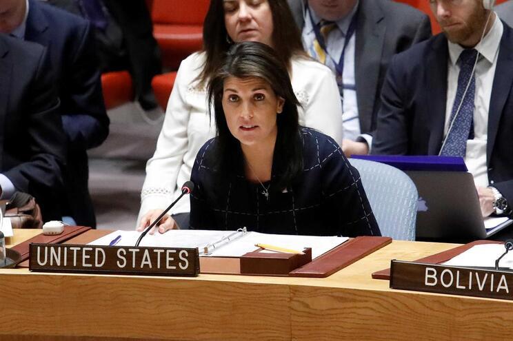 A embaixadora dos Estados Unidos nas Nações Unidas, Nikki Haley