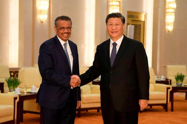 Tedros Adhanom, da OMS, e Xi jinping