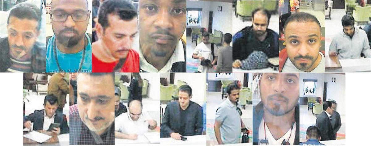 Os alegados membros do esquadrão da morte saudita, segundo fotos publicadas por um jornal turco