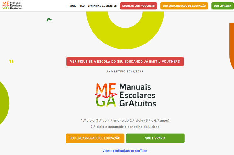 Plataforma MEGA para acesso aos vouchers do manuais escolares gratuitos
