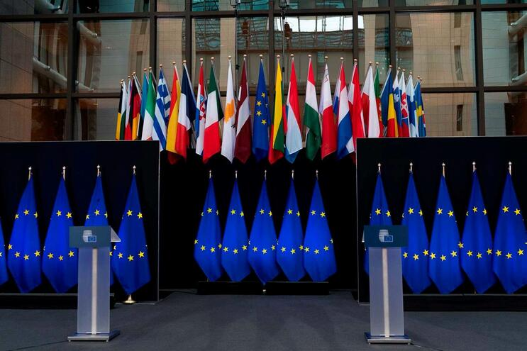 (FILES) In this file photo taken on November 29, 2019 European Union flags are displayed at the European