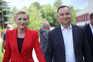 O presidente polaco, Andrzej Duda, com a mulher, Agata Kornhauser-Duda