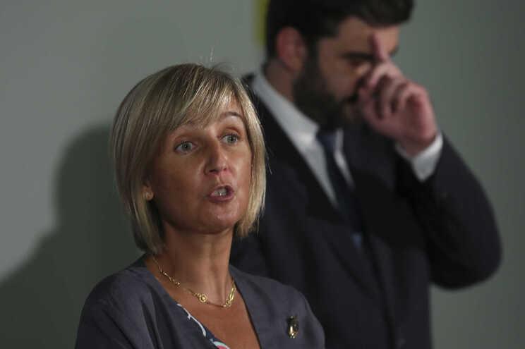 Marta Temido e Tiago Brandão Rodrigues, após a reunião no Porto