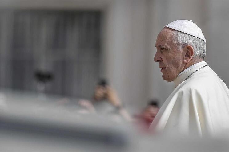 epa06788308 Pope Francis arrives for his weekly general audience in St. Peter's Square at the Vatican