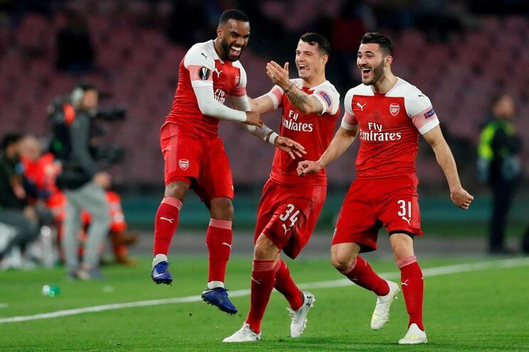 Festa dos jogadores do Arsenal