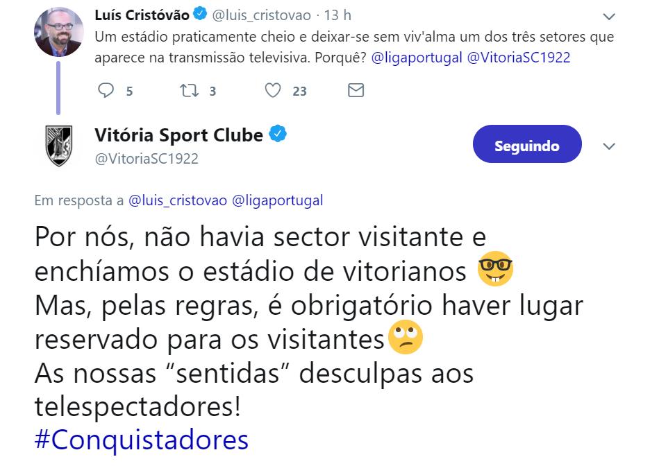 Tweet do Vitória de Guimarães