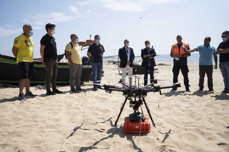Drone usado no simulacro em Espinho