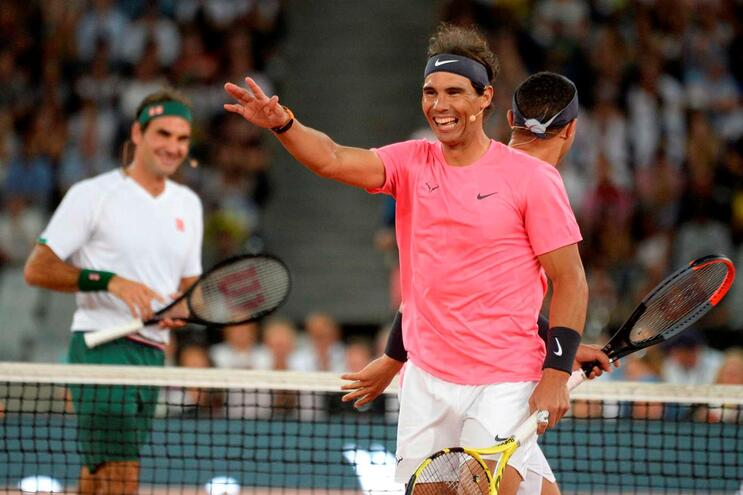 Jogo solidário entre Roger Federer e Rafael Nadal