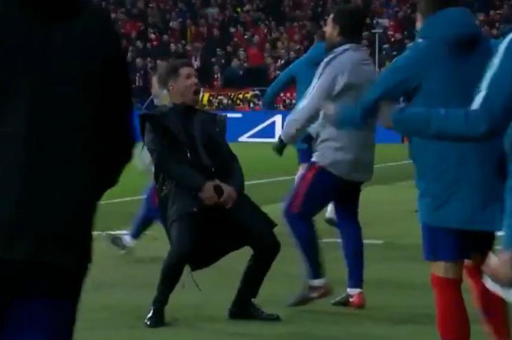 A celebração eufórica de Simeone ao primeiro golo do Atlético frente à Juventus
