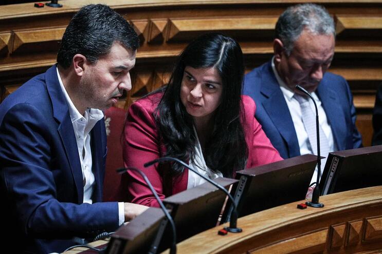 O porta-voz do Pessoas, Animais e Natureza (PAN), André Silva, fala com a líder parlamentar do partido