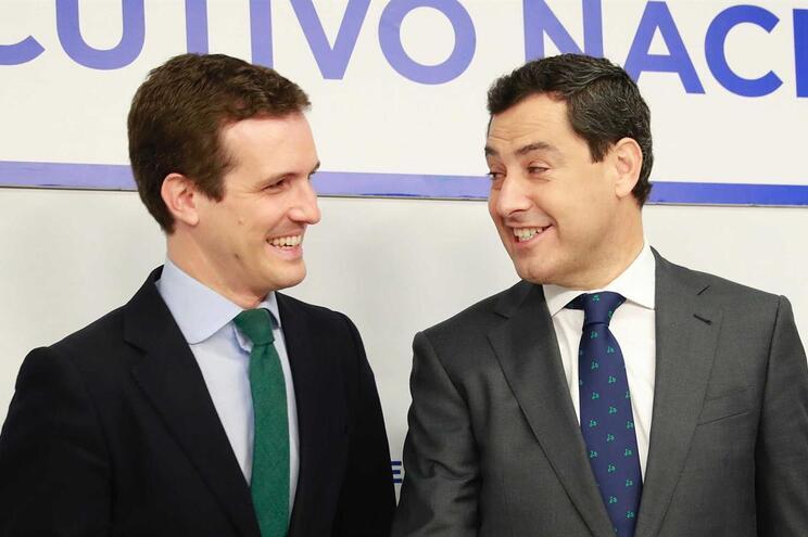 o presidente do próximo governo autónomo será o líder do PP andaluz, Juan Manuel Moreno (à direita na