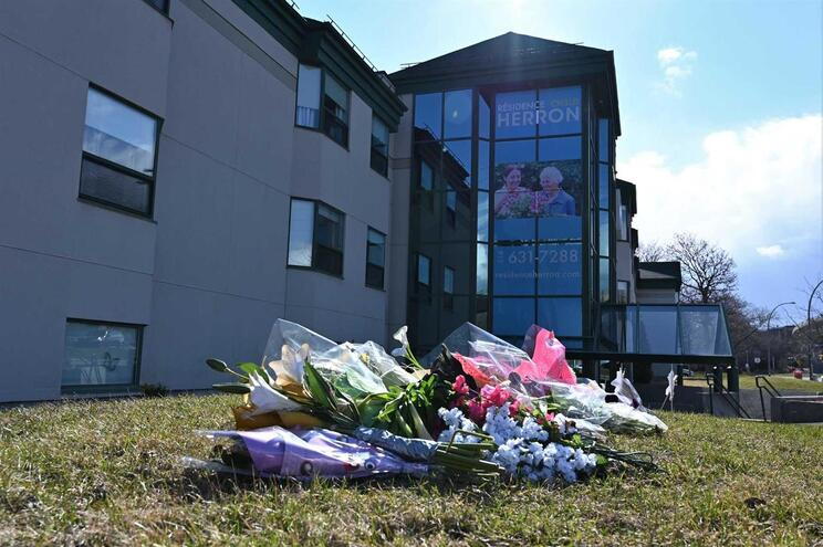 Flores para homenagear 31 idosos que morreram na Residência de Herron, em Montreal