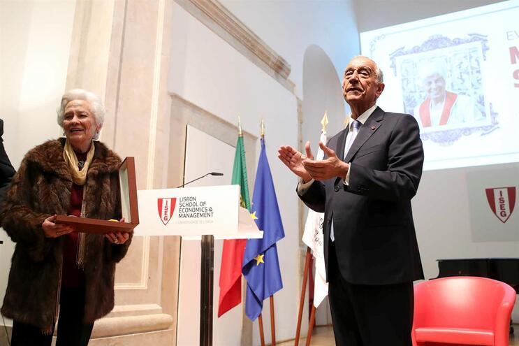 Marcelo Rebelo de Sousa numa iniciativa de evocação de Manuela Silva, que decorreu no Instituto Superior
