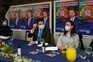O candidato à Presidência da República, André Ventura, durante um jantar-comício no restaurante Solar