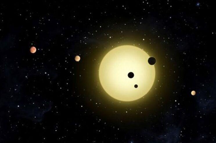 Seis pequenos planetas na órbita de Kepler-11, uma estrela semelhante ao sol aqui representada numa composição