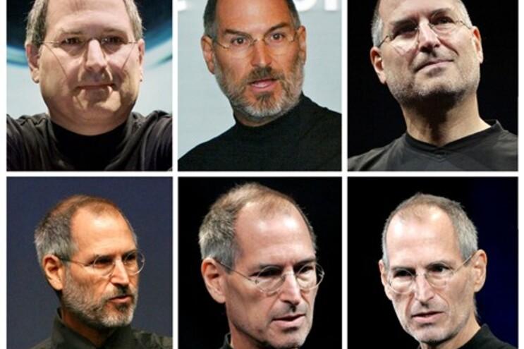 Steve Jobs em 2000, 2003, 2005, 2006, 2008 e 2009