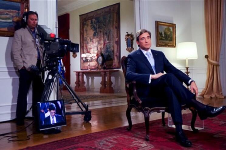 Pedro Passos Coelho durante a entrevista à RTP1