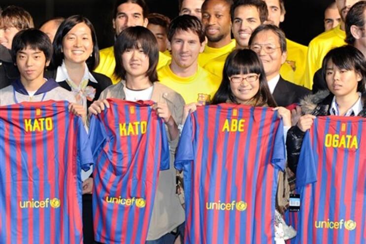 Messi e colegas solidários com órfãos japoneses