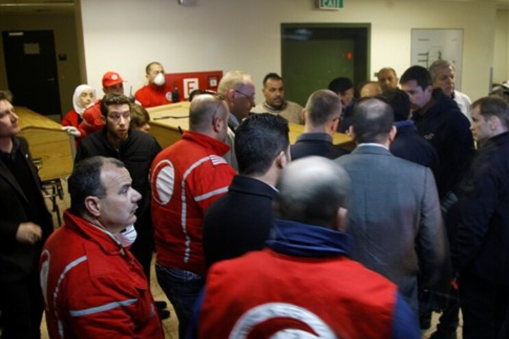 Coprtos dos jornalistas no Hospital de Damasco