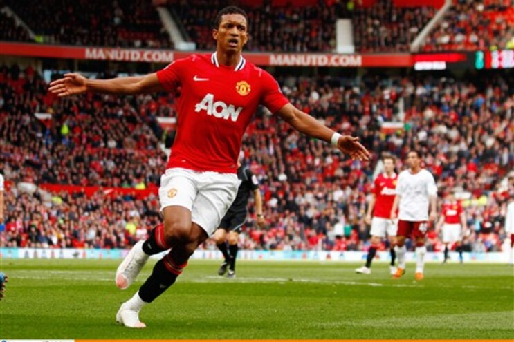 Nani festeja o quarto golo do Manchester United