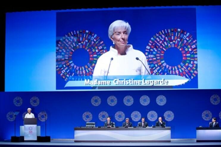 Christine Lagarde no encontro anual do FMI e Banco Mundial
