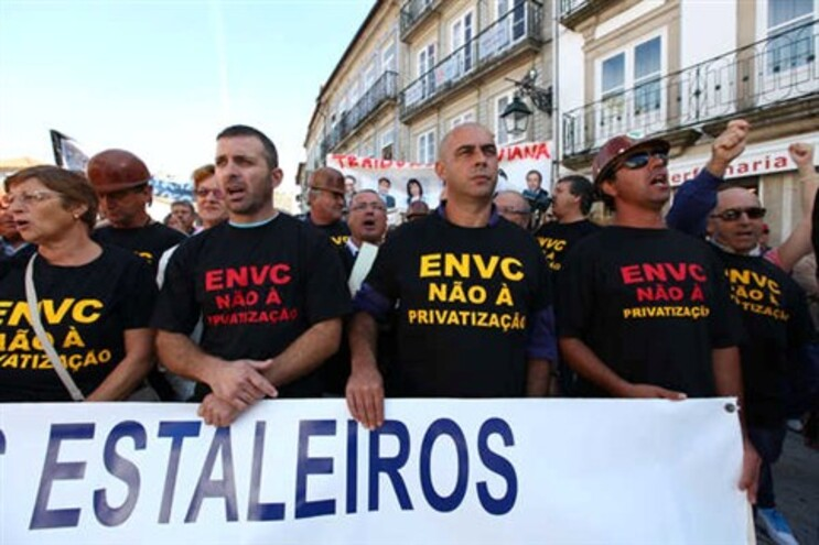 Manifestação dos trabalhadores dos Estaleiros de Viana