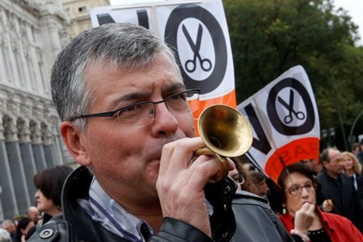 Protestos em Madrid contra as medidas de austeridade