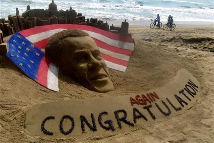 Escultura de areia a felicitar Obama na Índia