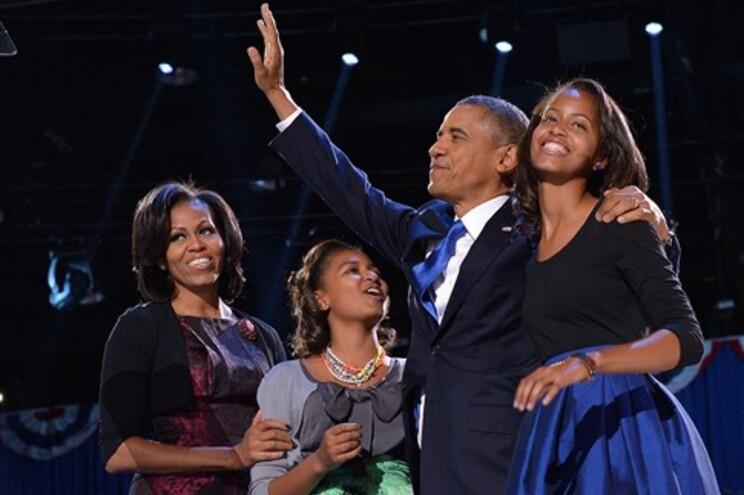 A família Obama no festejo da reeleição