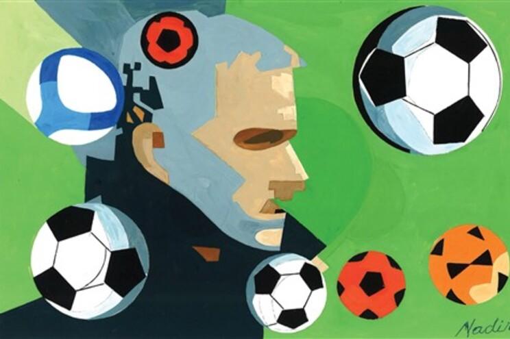 Reprodução de um retrato de Mourinho da autoria do pintor Nadir Afonso