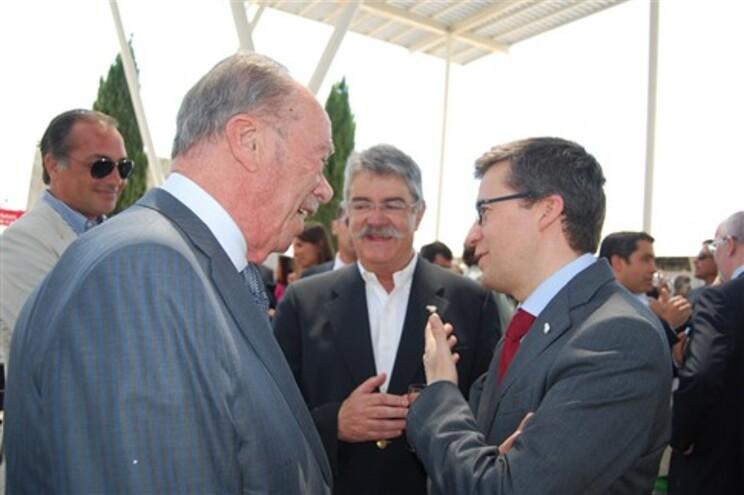 Carlos Moedas na Ovibeja conversa com o comendador Rui Nabeiro