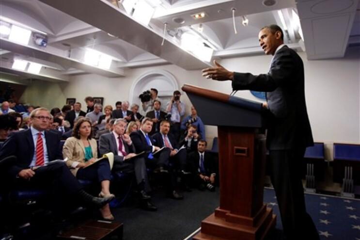 Obama fala aos jornalistas na Casa Branca