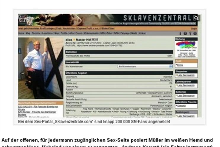 "O ""Bild"" publicou a imagem do perfil sexual de Hans Müller"