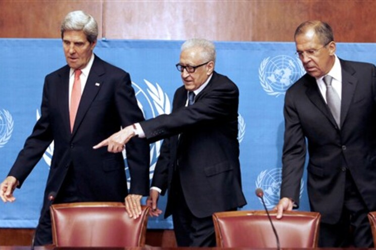 John Kerry, Lakhdar Brahimi e Serguei Lavrov