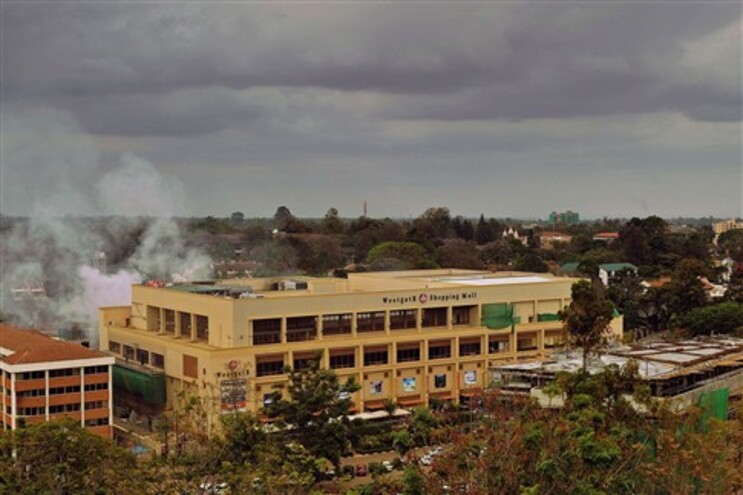 Vista do centro comercial Westgate durante o ataque