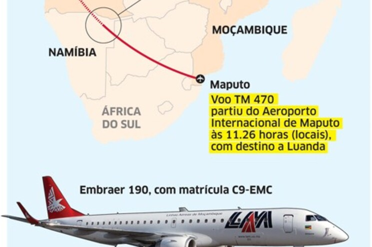 Provável presença de portugueses a bordo do avião moçambicano desaparecido
