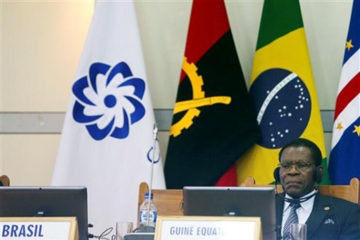 O Presidente da Guiné Equatorial, Teodoro Obiang, durante a cerimónia de abertura da X Conferência de