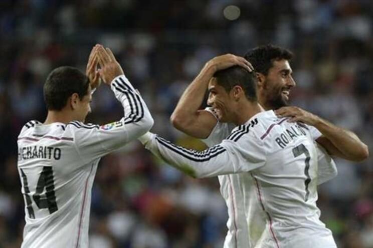 Festejos após um dos 4 golos marcados por Cristiano Ronaldo