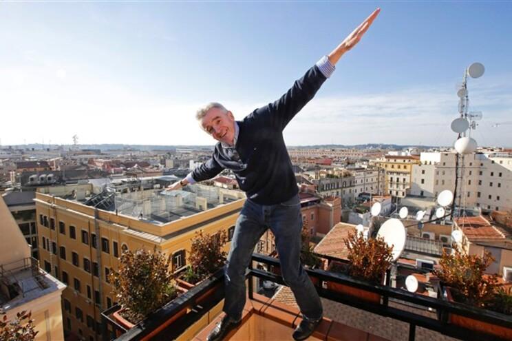 CEO da Ryanair, Michael O'Leary, após uma conferência de imprensa, em Roma, na terça-feira